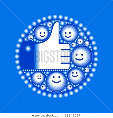 Hand with happy smiley faces and circles in blue