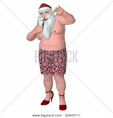 Santa Caught Putting On Lipstick