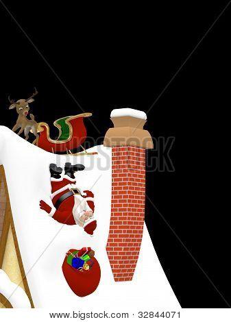 Santa Falling Down A Roof