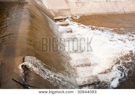 River Dam Flowing.