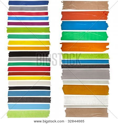 collection of colorful adhesive tape or blank stickers for text on white background