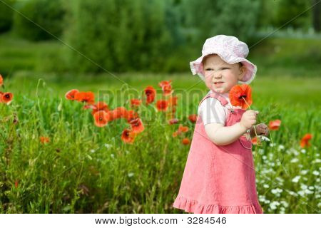 Baby With Red Flower