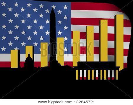 Horizonte de Washington DC y gráfico sobre la ilustración de la bandera americana