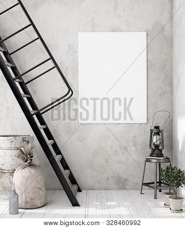 poster of Mock-up Poster Frame In Decorated Room Interior, Scandinavian Style, 3d Illustration