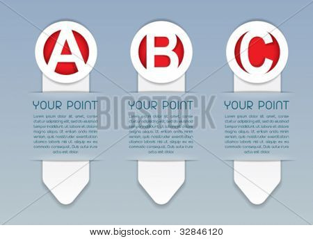 ABC vertical vector progress icons in White