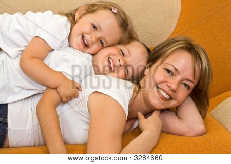Woman Playing With Kids