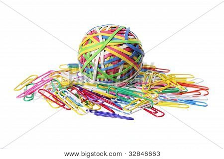 Rubberband Ball And Paper Clips