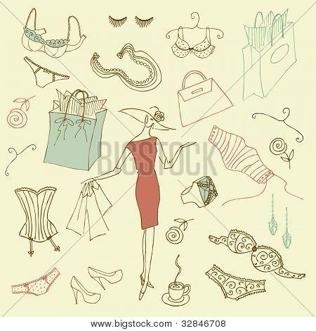 Feminine doodles, Shopping madness