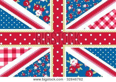 hübsch britische Flagge im shabby chic Blumenart
