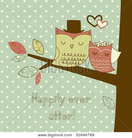 Two cute owls on the tree branch, Romantic Wedding Card