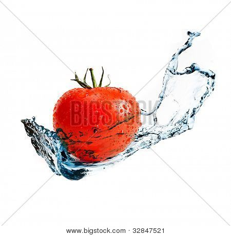 red ripe tomato with water splash isolated on white background