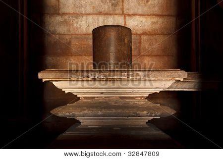 Shivalingam (Shiva representation) in Hindu temple in Khajuraho, India