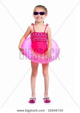 Studioaufnahme von kleinen Mädchen in Badeanzügen