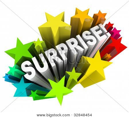 The word Surprise in 3d letters shooting out of a burst of colorful stars or fireworks illustrating the excitement of fun news or information