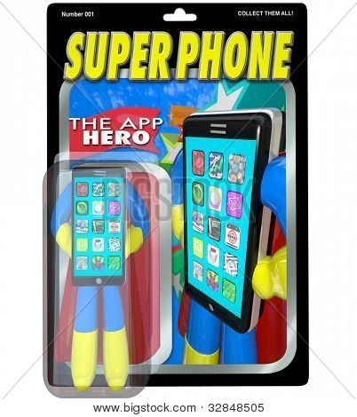 An action figure in a package for Super Phone, the App Hero who is the best smart cellphone available to buy on the market, meeting all your communication needs