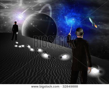 Man points toward galaxy in science fiction scene