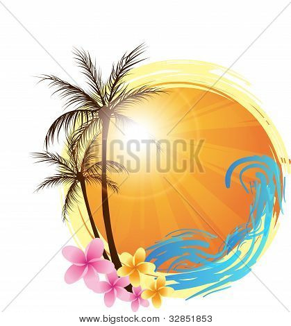 Round Background With Palm Trees