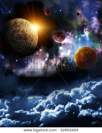 Maya prophecy. Vertical background with space scene