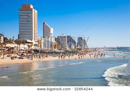 Panoramic view of the  Tel-Aviv public beach on Mediterranean sea. Israel