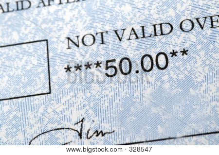 Fifty Dollar Check Detail