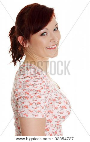 Portrait of a young happy woman, isolated on white background