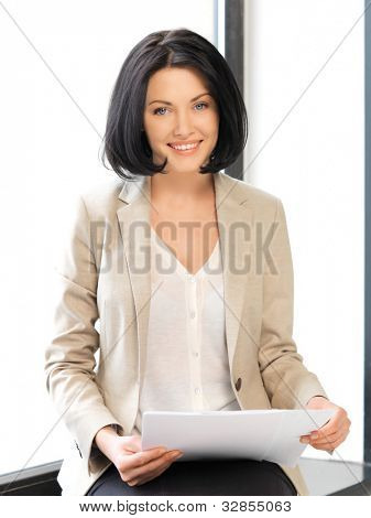 bright picture of happy woman with documents