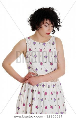 Sad summer girl , with Depression , isolated on white