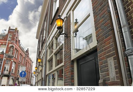 Morning, The Lights On The Building. Den Bosch. Netherlands
