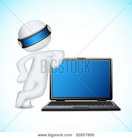 illustration of 3d man in vector fully scalable standing with notebook