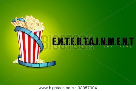 illustration of popcorn with movie ticket and film reel on entertainment background