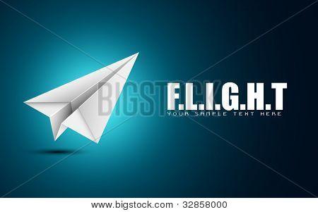 ilustração do avião de papel dobrado no fundo motivacional de voo