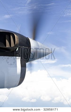 Close Up Of A Turboprop Engine In Flight