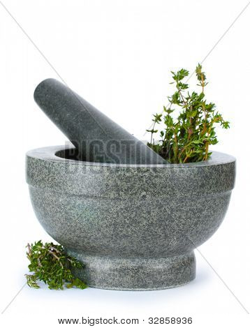 fresh green thyme in mortar isolated on white