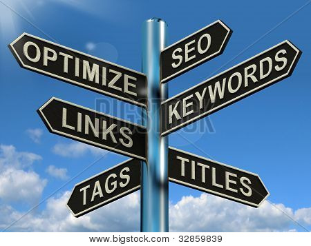 Seo Optimize Keywords Links Signpost Shows Website Marketing Optimization