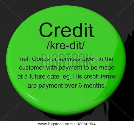 Botão de definição de crédito mostrando o pagamento sem dinheiro ou empréstimo