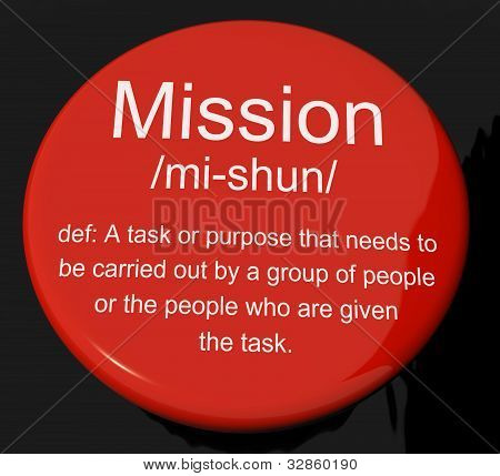 Mission Definition Button Showing Task Goal Or Assignment To Be Done