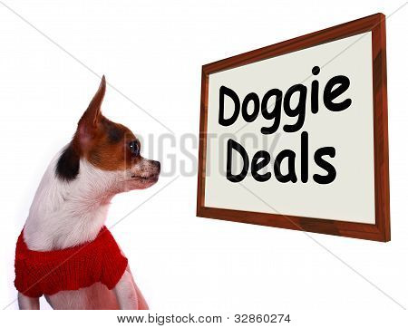 Doggie Deals Sign Showing Dog Bargains Deals And Clearance