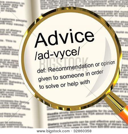 Advice Definition Magnifier Showing Recommendation Help And Advice Definition Magnifier Shows Recomm