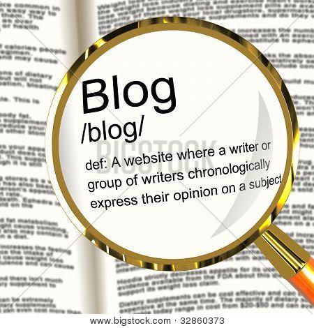 Blog Definition Bildschirmlupe anzeigen Webseite Blogging oder blogger