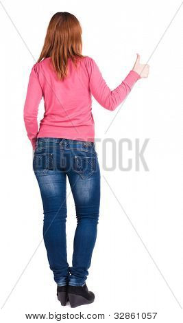 Back view of young beautiful woman  going thumb up. Showing of positive emotions with OK sign concept . Rear view people collection.  backside view of person.  Isolated over white background.
