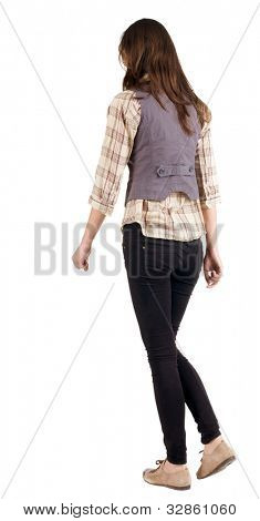 back view of going woman . gir. in motion. during a walk. Rear view people. Isolated over white background.