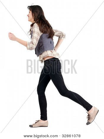 running brunette girl back view . woman in motion. Rear view people collection.  backside view of person. Isolated over white background.