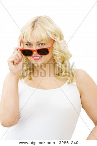 Summer Fun - Beautiful Woman With Red Sunglasses