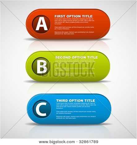 3D vector progress icons for three  steps and their description