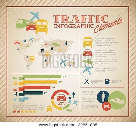 Gran conjunto de Vector de elementos de la infografía de tráfico para sus documentos e informes