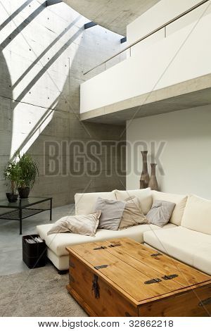 hermosa casa modernista en cemento, interior, sala de estar