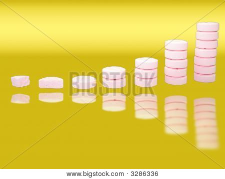 Ladder From Pharmaceutical Drugs With Reflections Over Gradient Background