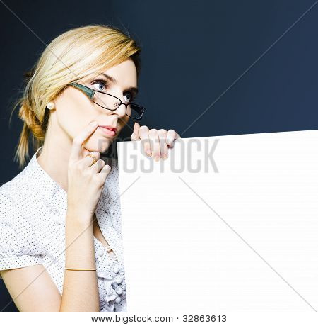 Tax Accountant Holding Blank Sign Board