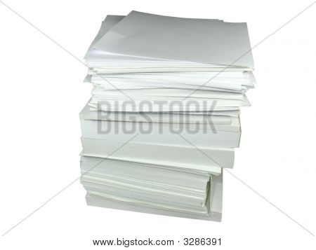 Pile Of A Notice Paper With Empty Place For Text Or Image Isolated