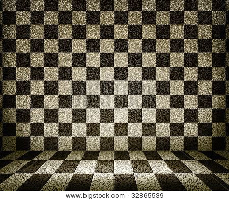 Sepia Chessboard Room Background